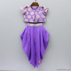 Cold Shoulder Top And Dhoti Gowns For Girls, Dresses Kids Girl, Little Dresses, Kids Outfits, Kids Indian Wear, Kids Ethnic Wear, Baby Dress Design, Kids Lehenga, Kids Gown