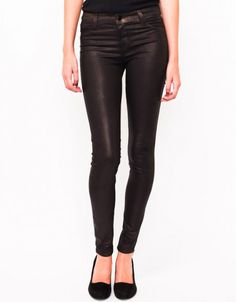 Coated Mid Rise Super Skinny in Rootbeer Metallic from J Brand