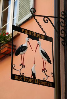Eguisheim Alsace, Vintage Labels, Vintage Signs, French Signs, Shop Signage, Cafe Sign, Pub Signs, Iron Art, Business Signs