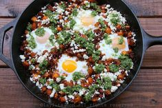 Recipe for chorizo and ripe plantain hash, this picadillo style breakfast hash is made with fresh chorizo, sweet plantains, onions, and served with eggs, queso fresco, avocado and hot sauce.