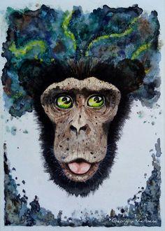 """Son/Thirst for knowledge"" #philosopher #chimp #handdraw #watercolorist #lightingeyes #surrealart #conoceteatimismo #beautifulbizarre #monkeyfever #levitating #art_dailydose #strangerfactory #georginaverbena #faces #surrealism #monkeylovers #ape #lighteye #heads #beautifulbizarremagazine"