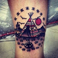"Tipi native american tattoo with birds and a fireplace, setting sun & stars. Can one thing mean ""home"" and ""freedom"" at the same time?"