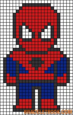 Spiderman perler bead pattern, but could probably use for cross stitch