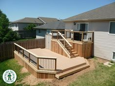 This two level deck was built in Niagara Falls by the St. Catharines / Grimsby Franchise in 2009.  The decking is TimberTech Reliaboard.  The trim and