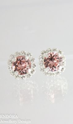 Blush pink crystal earrings Rose gold bridal by EndoraJewellery