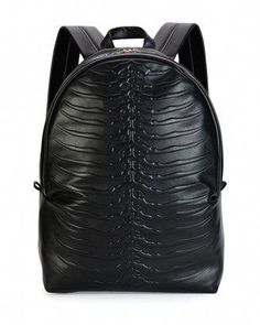 a696a6d0f069 Ribcage-Embossed Leather Backpack