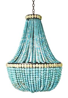"Turquoise ""Empire"" chandelier. I could see this in a home by the beach."