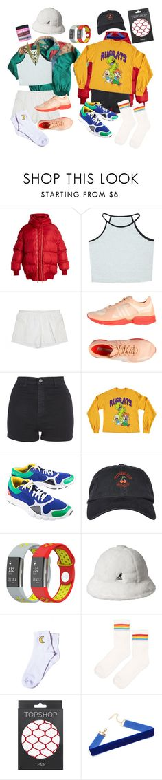 """Yoshi noises"" by shattered-pixels ❤ liked on Polyvore featuring STELLA McCARTNEY, New Balance, adidas, Topshop, Forever 21, Yves Saint Laurent, kangol and Manic Panic NYC"