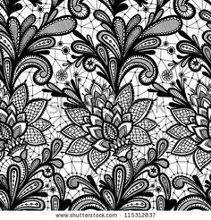 Seamless lace floral pattern Vintage invitation Grunge background with lace ornament  Black and White