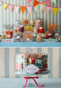 we could take strips of black or dark purple lace and glue them around the jars of your candy bar. are you still looking to have a candy bar?