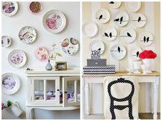 Decoração com pratos: uma forma moderna e cheia de charme de utilizar lembranças de viagens ou antiguidades herdadas da família na parede de casa. foto: reprodução