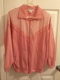 Windbreaker Coat Jacket casual pink Stripe Embellished size M Rafael #Rafael #Windbreaker #Casual