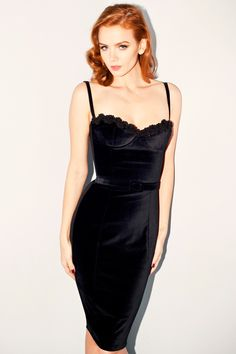 For all your VIP events! Our classic corset style dress constructed in rich luxurious velvet with French hand beading details at bust. Fitted with smooth back Ponti paneling for enveloped curves in a firm and sleek fit. Classic corset bust cups in a sleek 50s silhouette dress. Slim velvet roulé straps, centre back invisible zipper closure and small back vent for ease of wear. Style with velvet Slim 50s Belt for added sophistication and ultimate glamour! #NicheFashion