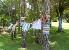 A show of support:  Fabric bombing in the yard of Ellen Lindner