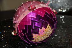 Handcrafted Satin Ribbon Christmas Ball by BettyGlamJewelry