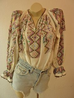 Fabulous Vintage Hand Embroidered Cotton Linen Romanian Hungarian Long Sleeve Peasant Blouse Shirt