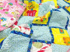 Patchwork Blanket Spring sky Baby Quilt Playmat by LosKuhnya