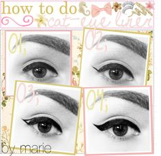 """how to do cat-eye liner "" by the-tip-girly ❤ liked on Polyvore"