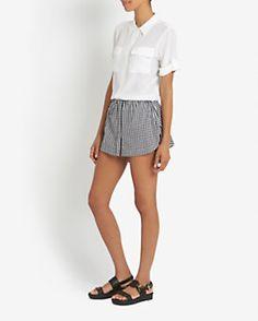 Equipment Slim Signature Double Flap Pocket Short Sleeve Blouse: White