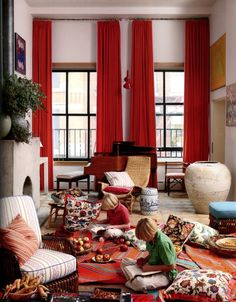 Curtains Living Room - A kind of decoration or what? Decor, Room, Curtains Living Room, Home, Orange Curtains, Red Curtains, Curtains Living, The Way Home, Vibrant Living Room