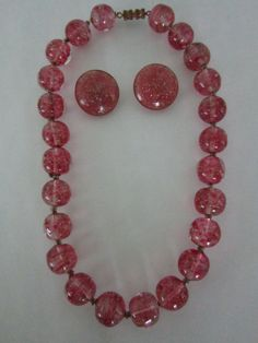 $68.00    Stunning Set- Murano Gold Fleck Art Glass Pretty Rose Pink Bead Glass Choker Necklace & Clip Earrings-VINTAGE-Excellent by JEANIESPLACE on Etsy