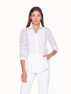 Akris® Official – Blouse with Foil Pleats and Shirt Collar Summer Blouses, Single Piece, Flare Pants, Straight Leg Pants, Cotton Silk, Elegant, Blouse Designs, Legs, Coat