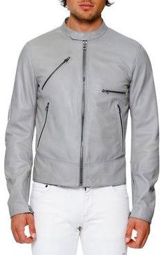 Dolce & Gabbana Lamb Leather Biker Jacket, Gray