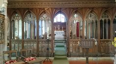 Medieval carved rood screen, Dittisham church