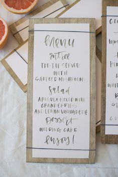 rubberband calligraphy menus — A Fabulous Fete
