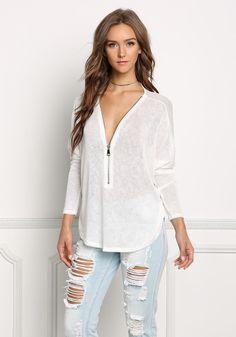Ivory Light Knit Zipper Sweater Top - Tops - Clothes