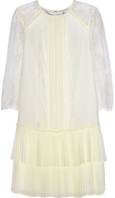 ALICE by Temperley Hemingway georgette and lace mini dress on shopstyle.com