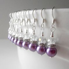 Purple Bridesmaid Earrings Wisteria Bridesmaid Sets Beaded Pearl Earrings Purple Wedding Jewelry Bridal Party Jewelry Sets Avalon. $12.00, via Etsy.