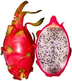 PITAHAYA - also called DRAGON FRUIT is a bright pink cactus fruit. It has a mild sweet taste and it's low in calories. Yucatan Mexico..