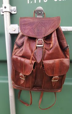 7815ccfa10 Brown Leather Backpack, Vintage Rustic Rucksack. Large Leather Backpack