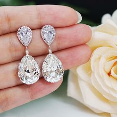 Clear White Swarovski Crystal Tear Drops Bridesmaid Earrings - Earrings Nation