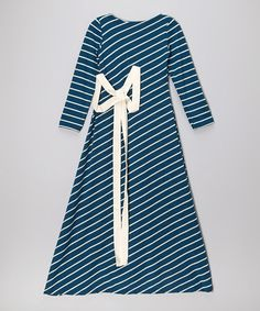 Take a look at this Teal & White Stripe Maxi Dress - Girls by fiveloaves twofish on #zulily today!