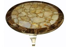 Mid-century Modern Brass & Onyx Coffee Table   Modernism