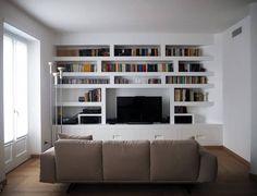 modern Living room by Luigi Brenna Architetto Malm, Luigi, Bookshelves, Bookcase, Milan Apartment, Interior Architecture, Interior Design, Artwork Display, Layout