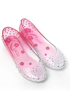 Transparent Jelly Ballet Flats in Pink- I NEED THESE! CINDERELLA JELLIES!