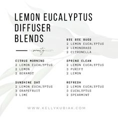 Diffuser Blends for Lemon Eucalyptus Essential Oil Doterra Diffuser, Doterra Essential Oils, Lemon Eucalyptus Essential Oil, Citronella, Diffuser Blends, Lemon Grass, Spring Cleaning, Lime, Limes