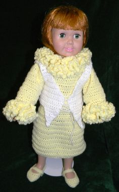 "Yellow dress with white vest for 18"" doll."