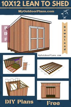 This step by step woodworking project is about lean to shed plans. This shed features a lean to roof and double front doors. I have also added a side window, so you can have some light inside the storage area. Diy Storage Shed Plans, Storage Building Plans, Outdoor Storage Sheds, Building A Shed, Outdoor Sheds, Building Ideas, Building Design, 10x12 Shed Plans, Lean To Shed Plans