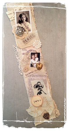 Snippet roll simple and elegant. With lace scraps, dyed papers, few ornaments and photos. By Rainebeau. Fabric Journals, Journal Paper, Junk Journal, Art Journals, Wooden Spool Crafts, Paper Crafts, Diy Crafts, Diy Garland, Paper Tags
