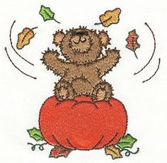 Autumn Bear 9 - 4x4 | Fall | Machine Embroidery Designs | SWAKembroidery.com Designs by Juju