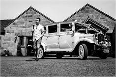 Heaton House Farm Wedding Venue, Cheshire, Cris Lowis Photography, Arrival, wedding car, wedding day, retro car