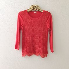 J. Crew Lace 3/4 Sleeve Top Great condition! No stains, holes, etc. J. Crew Tops Blouses