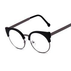 d53720eb0028 Women Glasses Cat Eye Eyeglasses Vintage Half Frame Metal Eyewear Frames  Prescription Optical Myopia Computer Clear Glasses -in Eyewear Frames from  Women s ...