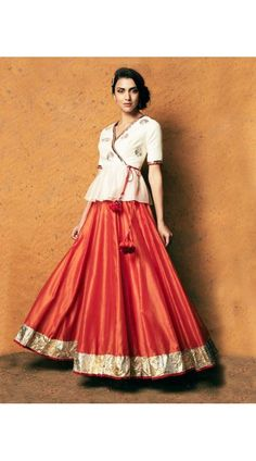 Frock Style Crop Skirt In Crimson And Off White