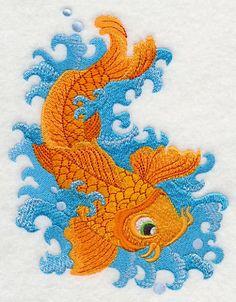 Asiatische Wellen Koi Fische bestickt Mehl von EmbroideryEverywhere