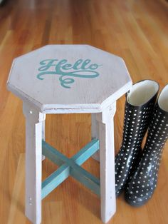 Give a thrift store find new life with chalk paint and a fun stencil!